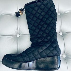 Tory Burch GiGi Black Quilted Wedge Boots - 7.5M
